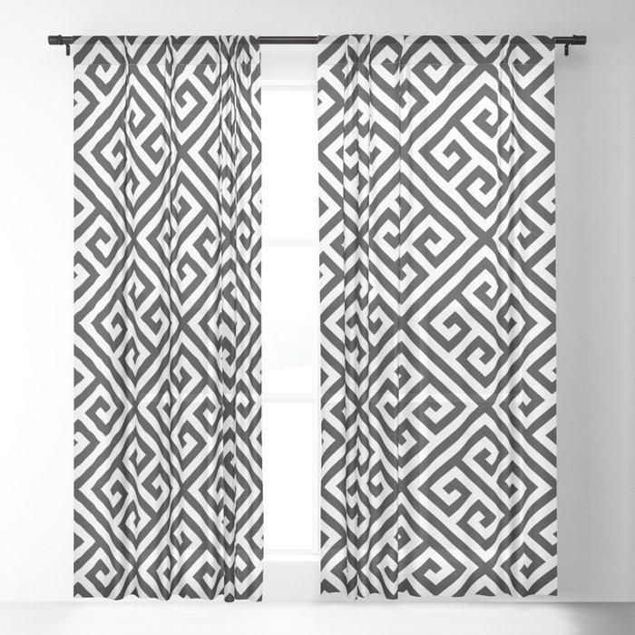 black and white pattern , Greek Key pattern -  Greek fret design Sheer Curtain