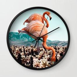 Flamingos In The Desert #society6 #artprints #flamingo Wall Clock