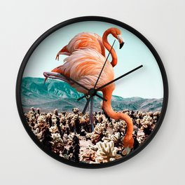 Flamingos In The Desert #society6 #artprints #flamingo Wall Clock