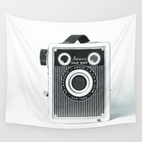photographer Wall Tapestries featuring Box Camera Retro - Photographer by Jean Ladzinski
