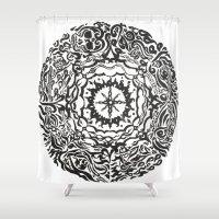 calendar Shower Curtains featuring Aztec Calendar by Jack Soler