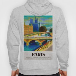 Vintage 1957 Paris River Seine & Notre-Dame Cathedral Travel Advertising Poster by Jacques Garamond Hoody