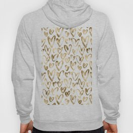 Gold Love Hearts Pattern on White Hoody