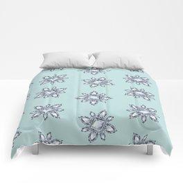 Jewelbox: Diamond Brooch Repeat in Eggshell Aqua Comforters