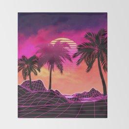 Pink vaporwave landscape with rocks and palms Throw Blanket