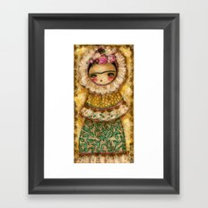 Frida In A Brown And Green Tehuana Mexican Traditional Dress Framed Art Print