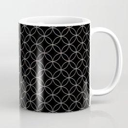 Silver Overlapping Circles on Black Coffee Mug