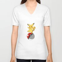 pokeball V-neck T-shirts featuring Pokeball Go by Nozubozu