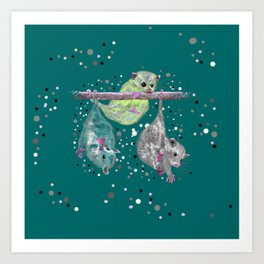 Green possum trio on a branch - Teal Art Print