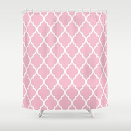 Classic Quatrefoil Lattice Pattern 731 Pink Shower Curtain