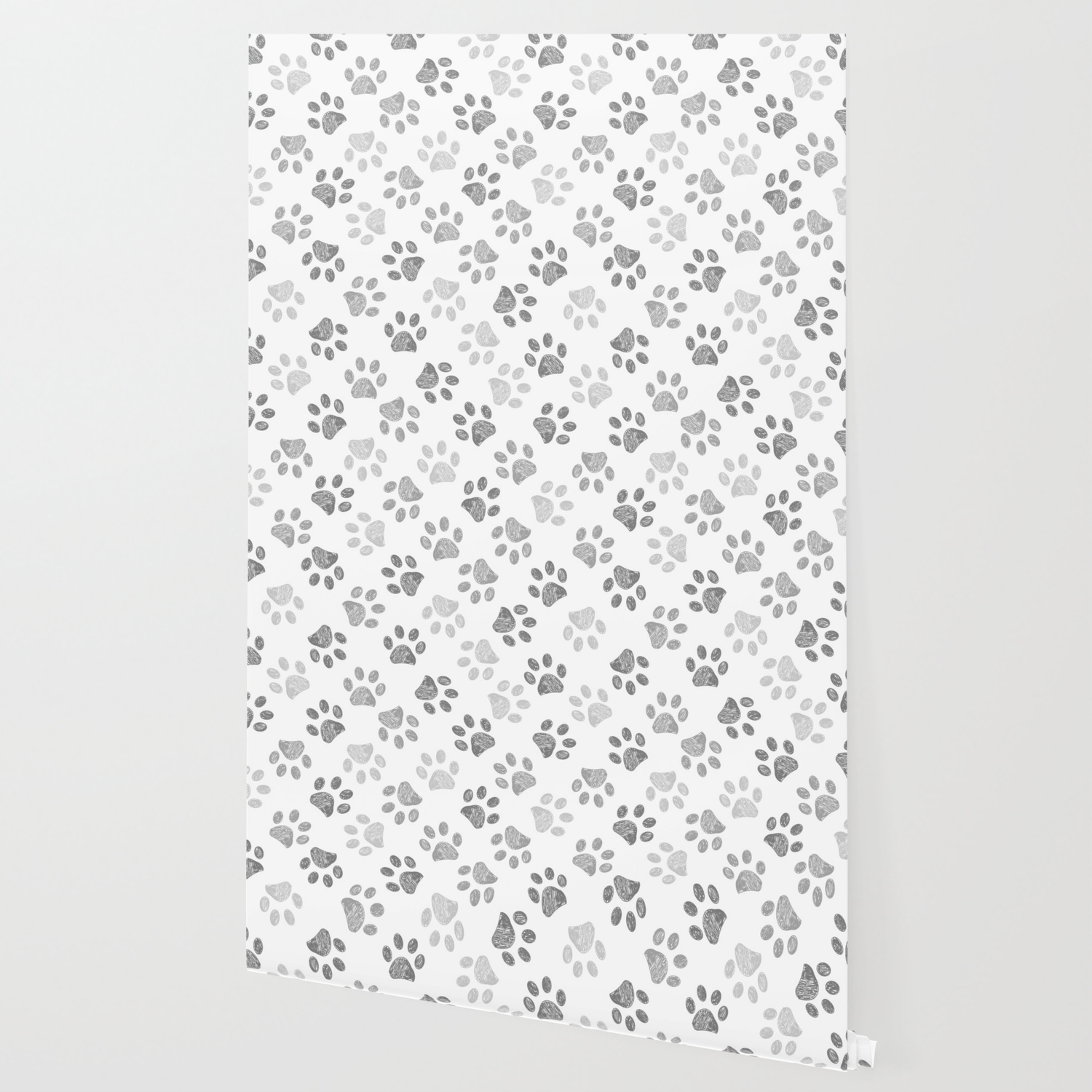 Black and grey paw print Wallpaper by