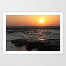 Sunrise on Lake Michigan in Winter Art Print