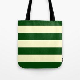 Dark Emerald Green and Cream Large Stripes Tote Bag