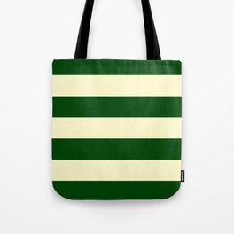 Dark Emerald Green and Cream Large Stripes Tote Bag