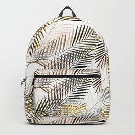 Fern's leaves on white background. Backpack
