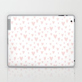 Blush pink white handdrawn watercolor romantic hearts pattern Laptop & iPad Skin