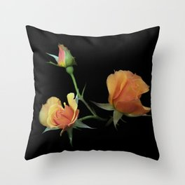 flowers on black - 3 orange rosebuds Throw Pillow