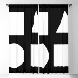 Minimal Shapes White Blackout Curtain