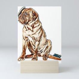 Beautiful dog of French Mastiff / Dogue De Bordeaux breed sits in studio looking aside in studio aga Mini Art Print