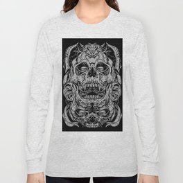 2 FACES SKULL Long Sleeve T-shirt