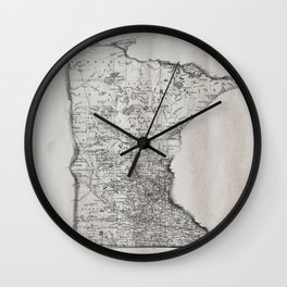 Old Map of Minnesota Wall Clock