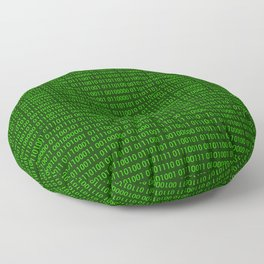 Binary numbers pattern in green Floor Pillow