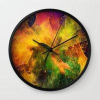 blanket Wall Clocks featuring Blanket of Stars by Klara Acel