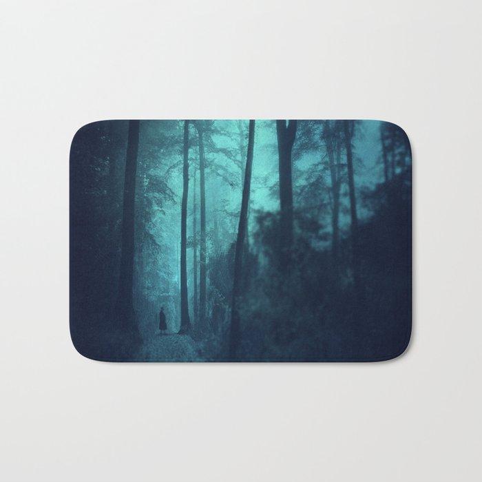 Light in a cyan forest Bath Mat