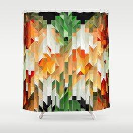 Geometric Tiled Orange Green Abstract Design Shower Curtain