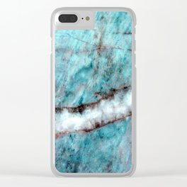 Pastel Aqua Blue Marble With White-Cream Streak Clear iPhone Case