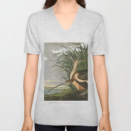 Long billed curlew, Birds of America, Audubon Plate 231 Unisex V-Neck