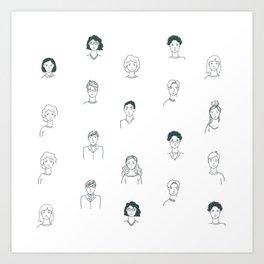 Sketchy People | Pattern Art Art Print