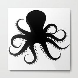 Octopus Silhouette in Black Metal Print
