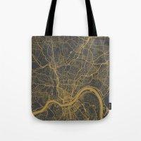 cincinnati Tote Bags featuring Cincinnati map by Map Map Maps
