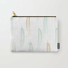 Large Feathers - Green & Gold #917 Carry-All Pouch