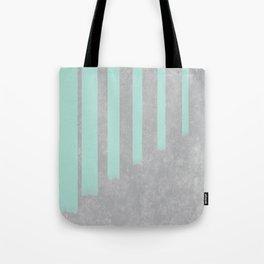 Soft cyan stripes on concrete Tote Bag