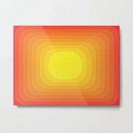Gradient Sun Abstract Vintage Pattern Geometric Metal Print
