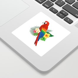 Tropical Macaw Floral Watercolor Sticker