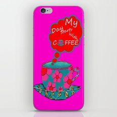 My Day Starts With Coffee - Pink iPhone & iPod Skin