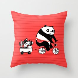 Cacti delivery. Panda on bicycle. Throw Pillow