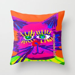 Pop Art Cat Head Throw Pillow