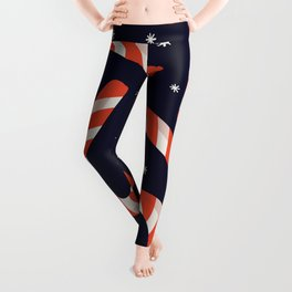 Christmas Candy Canes on Black Leggings