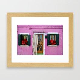 Pink Burano Door Framed Art Print