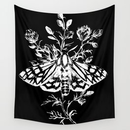 butterfly black Wall Tapestry