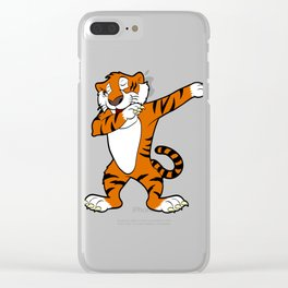 Are You A Fan Of Wild Life Animals? Unique Dabbing Tiger Tee T-shirt Design Strap Paws Orange  Clear iPhone Case