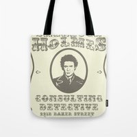 sherlock holmes Tote Bags featuring Sherlock Holmes by SuperEdu