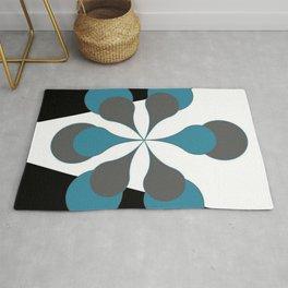 Mid-Century Modern Art 1.4B Grey Aqua Flower Rug