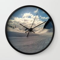 iceland Wall Clocks featuring Snowcapped Iceland by tyler Guill
