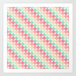 bubble gum polka dot stripes Art Print
