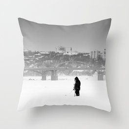 Alone Ice Fisherman Wild and City Throw Pillow